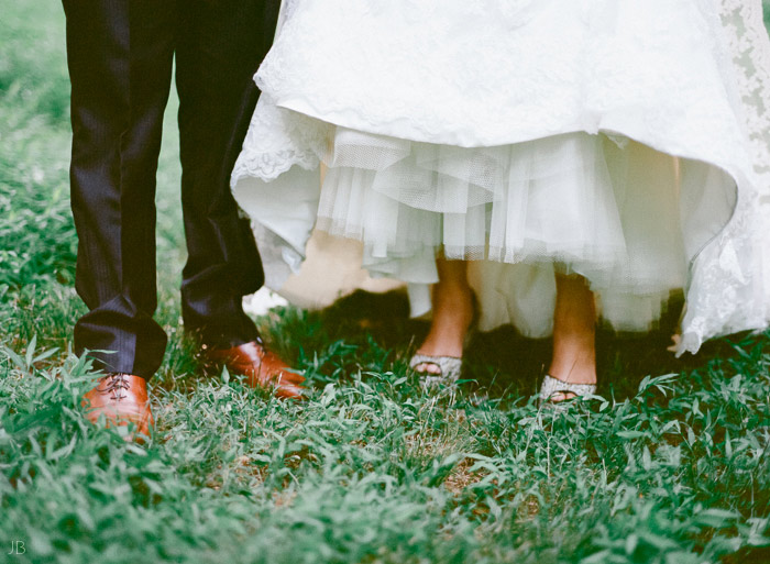 portra 400 bride and grooms shoes