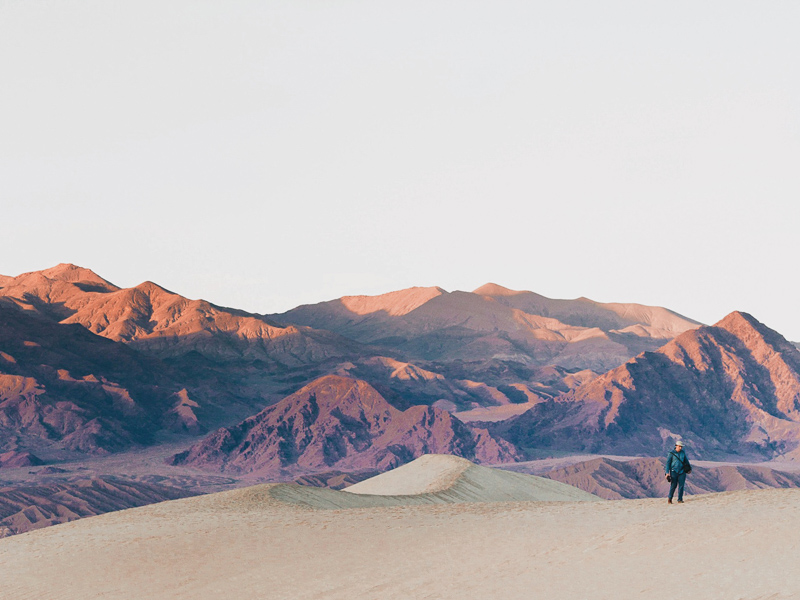 mesquite flat sand dunes and grapevine mountains in death valley national park california