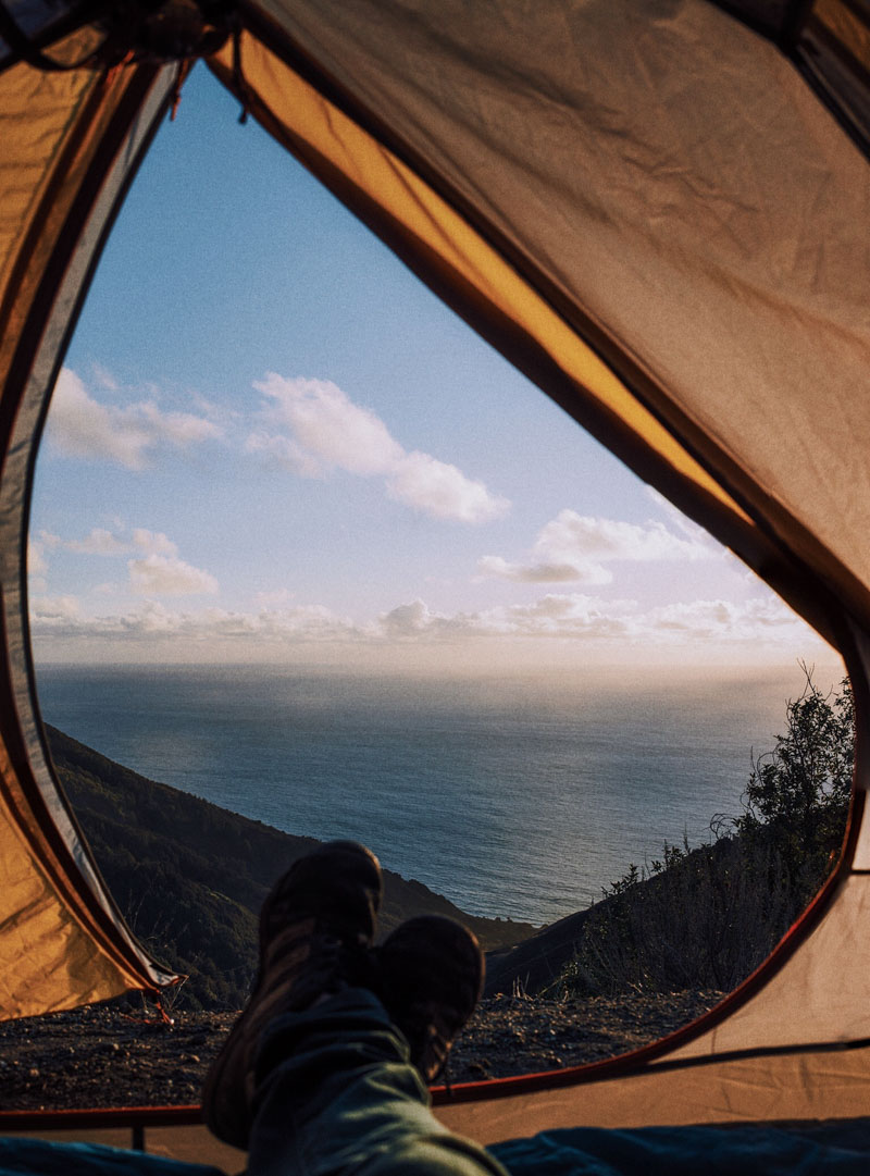 pacific ocean view from the tent in big sur california