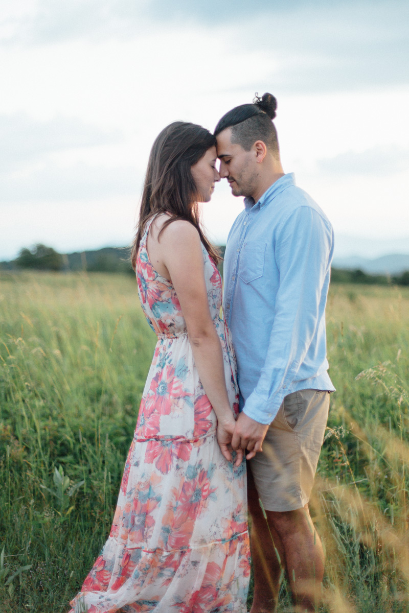 mountain engagement session in big meadows at sunset