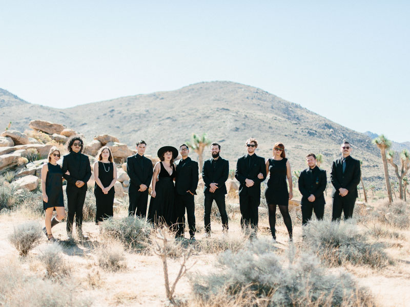 photo of entire wedding party in joshua tree national park - mojave desert wedding